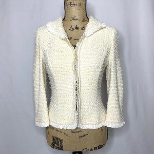 St. John Cream White Tweed Ruffle Blazer Jacket